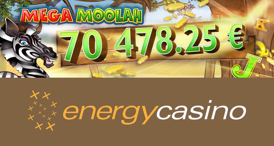 Big Mega Moolah winner at Energy casino